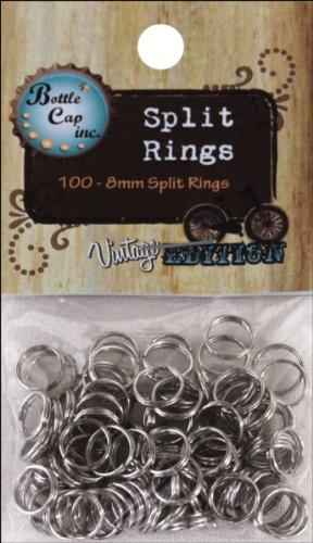 Unbekannt Flasche Gap Split Ringe 8mm, Silber, 100Stück (Cap Halskette Bottle)