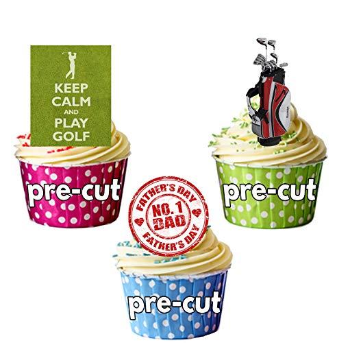 Vater 's Day Golf Themed Kuchen Dekorationen, essbar Stand-up Cup Cake Topper (Pack von 12)