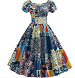 Handsome Girl dresses New Women Summer Vintage Dress Floral Print Short Sleeve Elegant Party Retro...