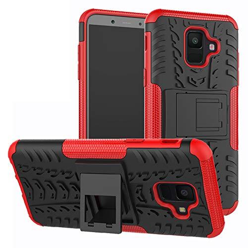 LFDZ Galaxy A6 2018 Custodia, Resistente alle Cadute Armatura Robusta Custodia Shockproof Protective Case Cover per Samsung Galaxy A6 2018 / SM-A600N / A600 Smartphone,Rosso
