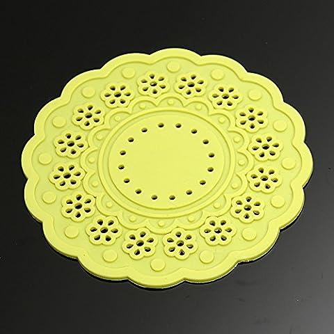 Aliciashouse Silicona de encaje Coaster -amarillo café taza de té con aislamiento Mat Heat Pad