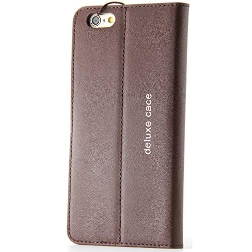 BELK-iPhone 6 Plus-Hülle (14 cm), elegant, hochqualitativ, aus echtem Leder, mit Brieftasche, Klappschutzhülle mit Standfuß + Bildschirmschutz, schwarz Brown-6 plus