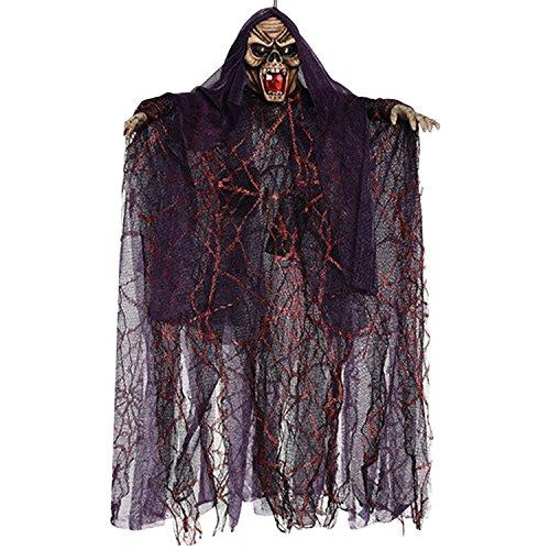 Beetest Halloween Skelett Hänge Deko Hängedekoration Totenkopf Gruselige Befehl Stimme Grusel Sensenmann für KTV Bar Haunted House 40 x 51 cm (Animierte Halloween)