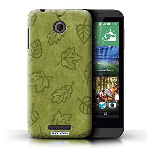 Kobalt® Imprimé Etui / Coque pour HTC Desire 510 / Jaune conception / Série Motif Feuille/Effet Textile Vert