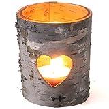 Interlogi Windlicht Teelichthalter Birkenholzrinde mit Herz und Glaseinsatz 8 cm hoch Ø 7,5cm