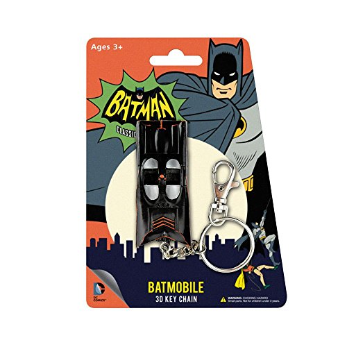 NJ Croce Animated Classic Batmobile 3D Comic Book Hanging Keychain Charm, Multi Color