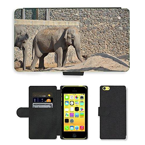 Grand Phone Cases PU LEDER LEATHER FLIP CASE COVER HÜLLE ETUI TASCHE SCHALE//M00141284 Elephant Grau-Zoo-Tier//Apple iPhone 5C
