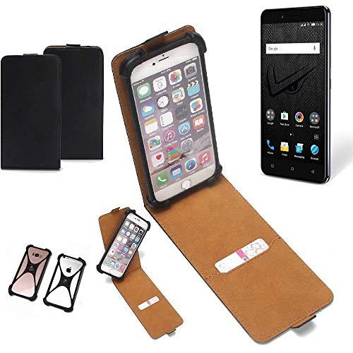 K-S-Trade Flipstyle Case für Allview V2 Viper XE Schutzhülle Handy Schutz Hülle Tasche Handytasche Handyhülle + integrierter Bumper Kameraschutz, schwarz (1x)