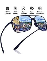 acf58711bdd JULI Polarized Pilot Sports Sunglasses for Men Women Tr90 Unbreakable Frame  for Running Fishing Baseball Driving