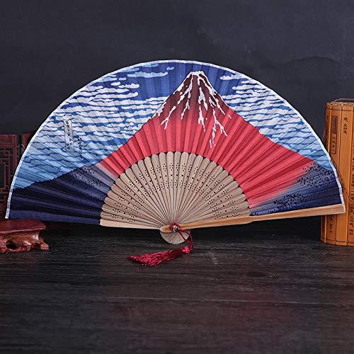 Kostüm Vulkan - XIAOHAIZI Handfächer,Der Sommer Damen Bambus Ventilator Gradient Hohlen Baiyun Vulkan Vintage Folding Lüfter Geeignet Für Hochzeit Lady Gift Tanz Ventilator U-Bahn Folding Fan