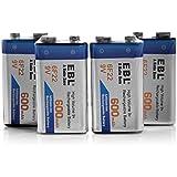 EBL 9V 600mAh Batterie ricaricabili agli ioni di Litio, confezione da 4 pezzi Senza l'effetto della memoria anche è Auto-scarica bassa