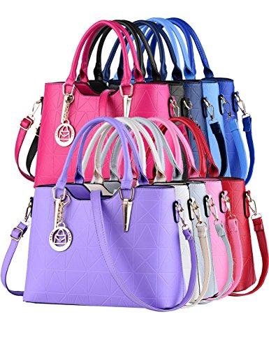 Menschwear Damen PU Handtaschen Damen Handtasche Schwarz Handtasche Schule Damen Handtaschen 34cm