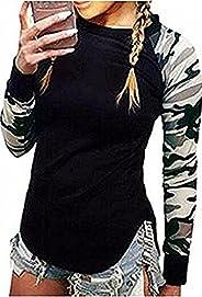 Flower999 Women Camouflage Stitching Fall Long Sleeve Shirt Casual Blouse Tops Sweatshirt T-Shirt