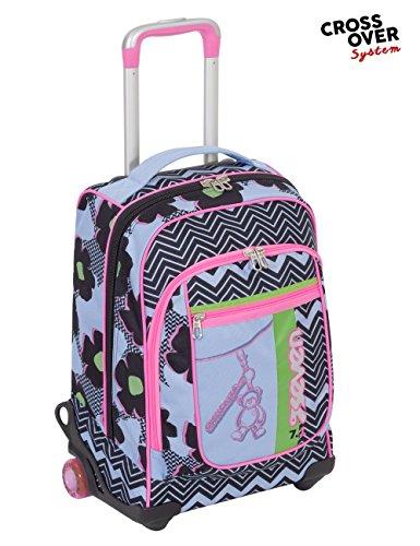 Trolley seven round - sunflower - rosa azzurro - spallacci a scomparsa! uso zaino scuola e viaggio