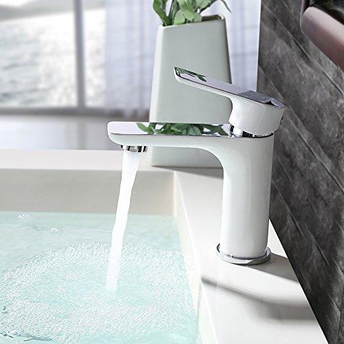 Homelody – Waschtisch-Einhebelmischer, ohne Ablaufgarnitur, Luftsprudler, Keramikkartusche, Weiß-Chrom - 5