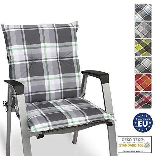 Beautissu Sunny MK Niedriglehner Auflage für Gartenstuhl 100x50 cm in Mintgrün Kariert - Bequemes Sitzkissen Polsterauflage UV-Lichtecht - weitere Designs erhältlich