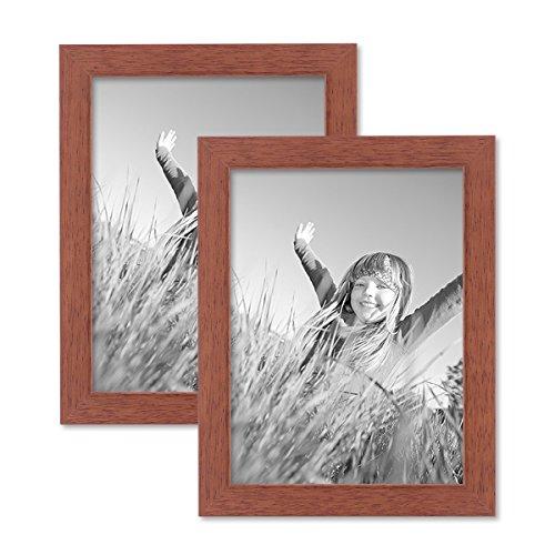 PHOTOLINI 2er Set Bilderrahmen 15x20 cm Kirsche Modern Massivholz-Rahmen mit Glasscheibe und Zubehör/Fotorahmen - Kirsche Rahmen