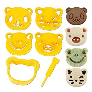 Cutezcute Animal Friends Food Deco Cutter and Stamp Kit - Great for Picky Eaters and Bento Lunch - Make Fun Sandwich, Cookie and More