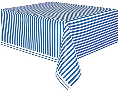 Unique Party - 50301 - Nappe - Plastique - Motif Rayé - 2,74 x 1,37 m - Bleu Roi