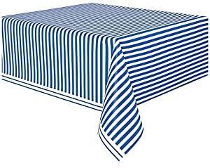 Unique Party Mantel de plástico a rayas de color azul marino 2,1 x 1,3 m