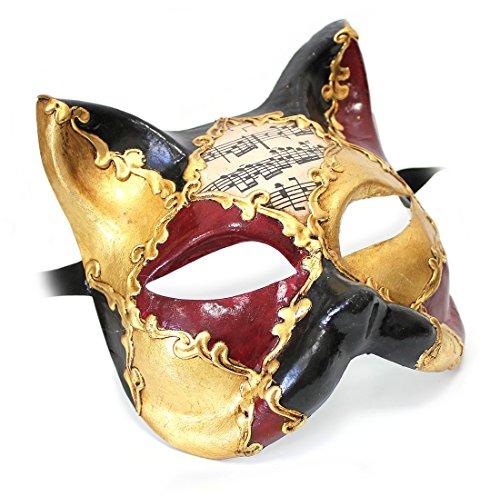 Unbespielt Handarbeit Original Venezianische Maske Damen Katzenmaske Damen Gatto Musica mehrfarbig