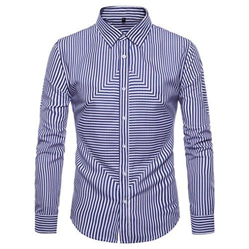 SEWORLD 2018 Herren Herbst Winter Hemd Oxford Streifen -