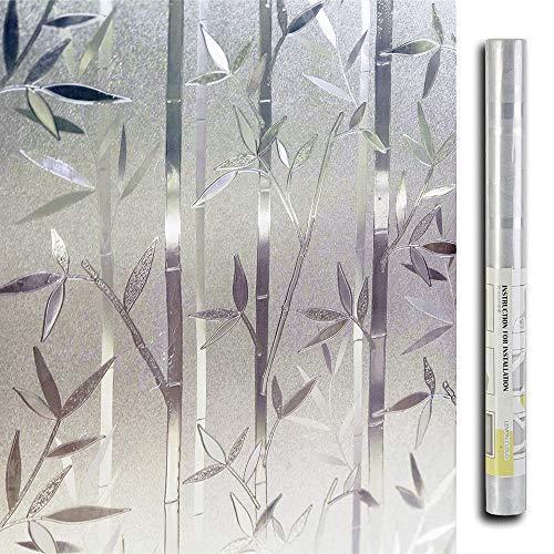 LEMON CLOUD Film Intimité pour Vitre Statique Décoratif Film Adhésif Fenêtre Vitrage Autocollant (Motif Bambou 45 cm × 200 cm)
