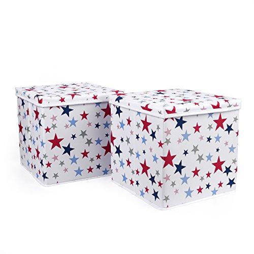 HOMIE 2er SET Ordnungsbox, Aufbewahrungskiste, Aufbewahrungsbox, Spielzeugkiste (30 x 30 x 30 cm) Weiß mit Sternen