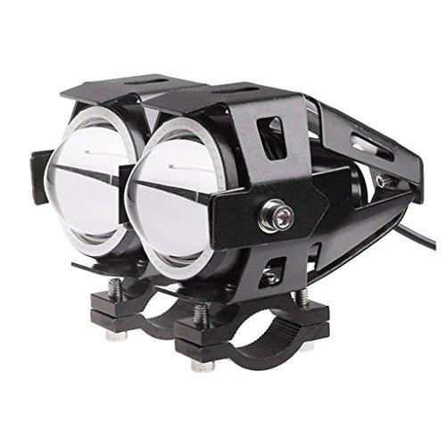 EHAO 2pcs 15W 1800LM CREE U7 Motorrad-LED-Scheinwerfer-wasserdichte hohe Leistung-Punkt-Licht-Boots-LKW-Auto-fahrende Nebel-Lichter mit blauen Engels-Augen 3 Modi Hoch-Niedrig-Röhrenblitz