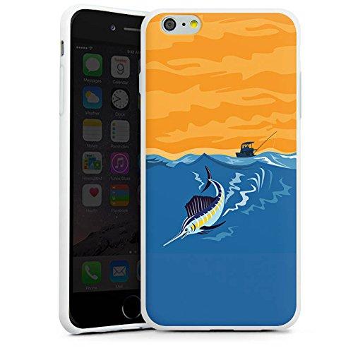 Apple iPhone X Silikon Hülle Case Schutzhülle Schwertfisch Angeln Fisch Silikon Case weiß