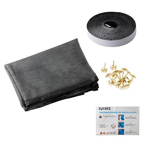 SYCEES Cortina mosquitera magnética para puertas 100cm x 210 cm (39' × 82'), Cierre automático y Magnética fuerte y Instalación fácil,con doble pestaña felpado y cortinaje pequeño de encaje