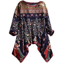 JURTEE Camiseta De Mujer Verano Talla Grande Cuello Redondo Estilo Étnico Impresión Blusas Manga LargaDobladillo Irregular Tops