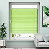 Plissee Klemmfix Rollo ohne Bohren - Grün - 85x130cm (BH) - Jalousie Faltrollo Sichtschutz und Sonnenschutz für Fenstern & Türn