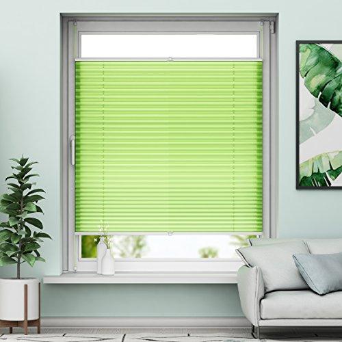Plissee Klemmfix Verdunkelung Grün Jalousien Innen Ohne Bohren Rollos Für Fenster 90x130cm