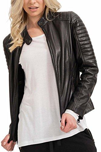 trueprodigy Casual Damen Marken Lederjacke echt Leder Damenjacke Cool Stylisch Vintage sportlich Slim Fit Jacke für Frauen, Größe:L, Farben:Schwarz