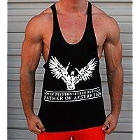 Hijo de Zeus Brother de Hercules Padre de estética Singlet, Stringer, sin mangas, chaleco, Bodybuilding, espalda cruzada y-Back, blanco, extra-large