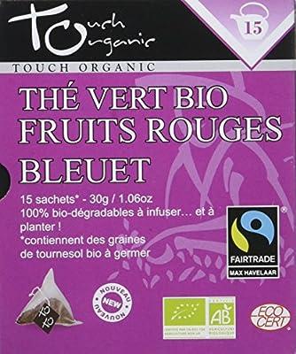 Touch Organic Thé Vert Fruits Rouges Bleuet 15 Sachets 30 g - Pack de 6