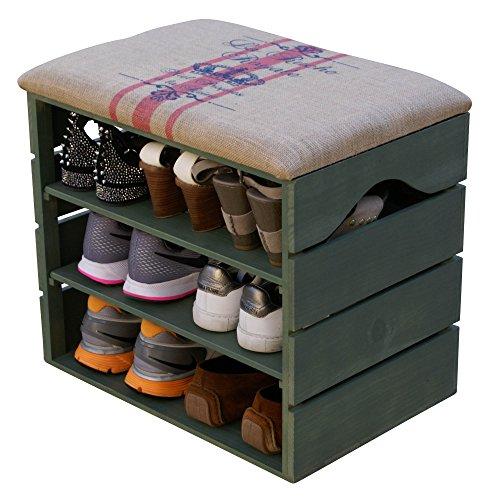 LIZA LINE SCHUHSCHRANK AUS HOLZ, SCHUHBANK, SCHUHREGAL (KHAKI GRÜN), mit Gepolstertem Sitz und textilbeschichtet. Lagern und ordnen Sie Fußbekleidung: Schuhe, Stiefel, Sneakers... Nordische Massivholz - 51 x 45 x 36 cm (Rote Linien)