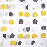 Ronde Papier Guirlande Cercle Coloré Dots Suspendus Papier Décoratif Chaîne Bannière pour Fête D'anniversaire De Mariage 4 M(jaune+gris+blanc)