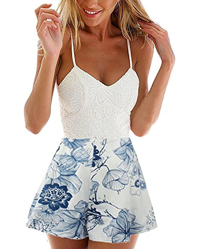 Minetom Damen Sexy Casual Elegant Ärmellos Minikleid V Ausschnitt Rückenfrei Sommerkleid Bügel Blumenspitze Overall Spielanzug Weiß DE 36 (Tee Damen V-neck Classic)