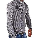 HUIHUI Herren Bekleidung Feinstrick Pullover Mit Stehkragen und Reißverschluss Kapuzenpullover Herren schwarz rückendrucksweatshirtjacke ohne Kapuze (Grau,XXL)