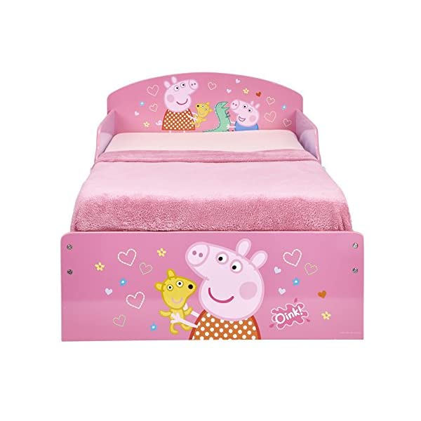 Peppa Pig Kids Toddler Bed by HelloHome Peppa Pig. Snuggle in after a day of play in this Peppa Pig Toddler Bed Perfect size for toddlers, low to the ground with protective and sturdy side guards to keep your little one safe and snug Fits a standard cot bed mattress size 140cm x 70cm, mattress not included. Part of the Peppa Pig bedroom furniture range from HelloHome 9