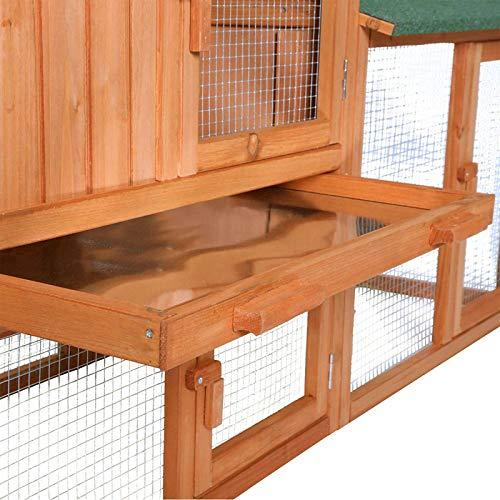 dibea RH10241, XXXL Kaninchenstall 223 x 52 x 85 cm (B x T x H, braun), Premium Kleintierstall für Hasen, Meerschweinchen oder Zwergkaninchen, wetterfestes Dach - 6