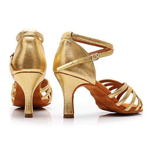 SWDZM Damen Ausgestelltes Tanzschuhe/Standard Latin Dance Schuhe Satin Ballsaal ModellD213-7 Gold EU38.5 - 3