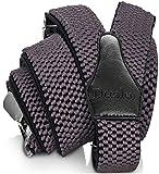 Decalen Hosenträger für Herren breit extra starken 4 cm mit 3er Clips Y Form Lang für Männer und Damen Eine Größe Passt Alle Verschiedenen Farben (Grau)