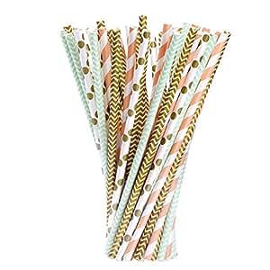 eBoot Blume Papier Trinkhalm Biologisch Papier Stroh, 100 Stück, Gold, Grün und Orange