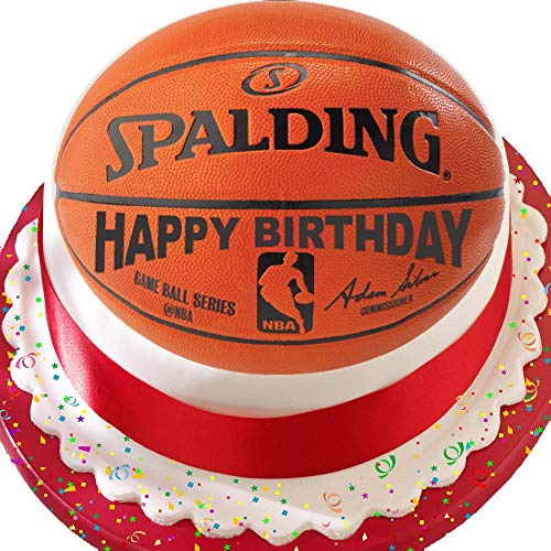 Cannellio Cakes Kuchendekoration Basketball Happy Birthday, 19,1 cm, vorgeschnitten, essbar
