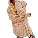 KUDICO Damen Mäntel Winter warm Faux Wolle offene Front Kapuzen Parka Outwear Jacke über Mantel Ober Mantel Tops mit Tasche, Angebote! (Khaki, EU-38/CN-S)
