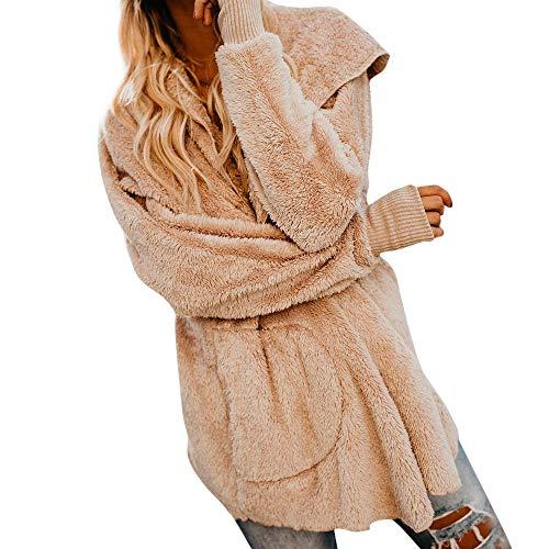 Damen Mantel MYMYG Winter Warm PlüSchjacke Steppmantel Hoodie Faux Wollmantel Cardigan Outwear Mit Kapuze Casual Lose Coat(KhakiEU:38/CN-L)