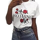 NIGNSUN Estate Maglietta a Maniche Corte da donna con Stampa Sciolta Bianco T-Shirt a con Fiore di Rosa Stampa Girocollo Raccolto T-shirt Camicie Tops Sciolto (Bianca, M)